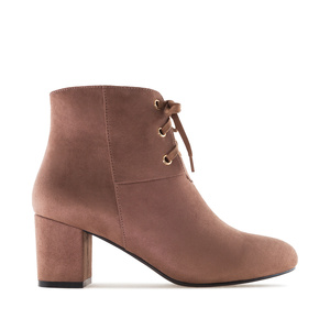 Lace-Up Booties in Brown Suede