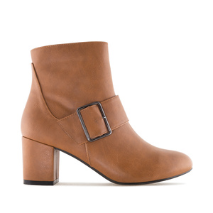Buckled Booties in Camel faux Leather