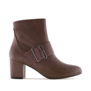 Buckled Booties in Brown faux Leather