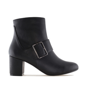 Buckled Booties in Black faux Leather