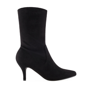Elasticated Boots in Black Suede