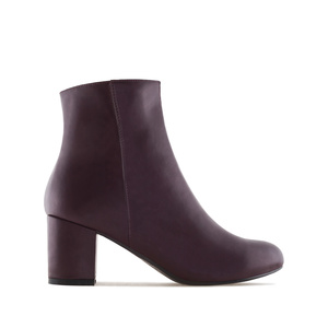 Burgundy faux Leather Ankle Boots