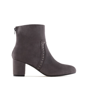 Stud Ankle Boots in Grey Suede