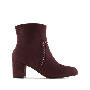 Stud Ankle Boots in Brown Suede