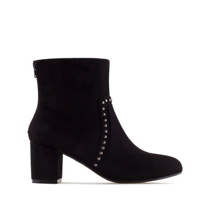 Stud Ankle Boots in Black Suede