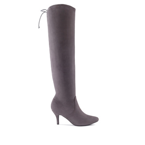 Calf High Boots in Grey Suede