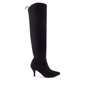 Calf High Boots in Black Suede