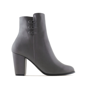 Ankle Boots in Grey faux Leather