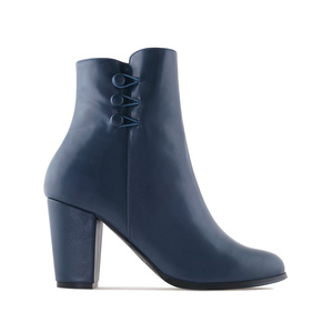 Ankle Boots in Navy faux Leather