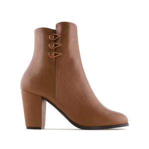 Ankle Boots in Brown faux Leather