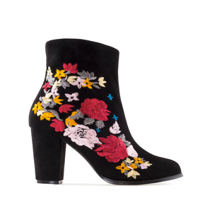 Ankle Boots in Embroidered Black Suede