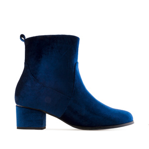 Deep Blue Velvet Booties