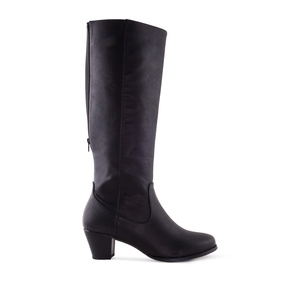 Boots in Black faux Leather with elastic