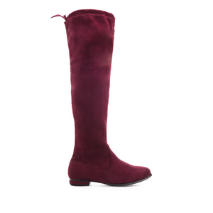 Thigh High Boots in Burgundy Suede