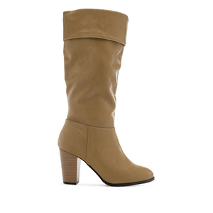 High Calf Boots in Beige faux Leather