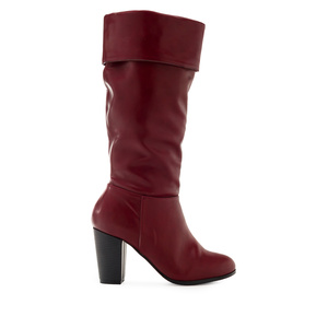 High Calf Boots in Burgundy faux Leather