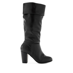 High Calf Boots in Black faux Leather
