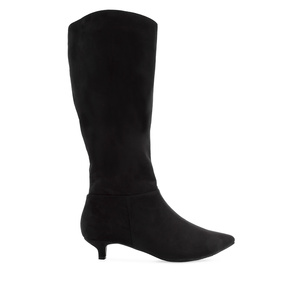High Calf Boots in Black Suede