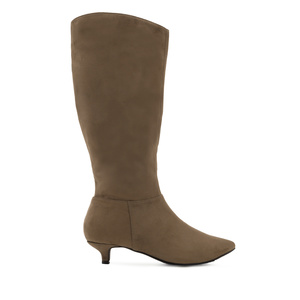 High Calf Boots in Earth-colour Suede