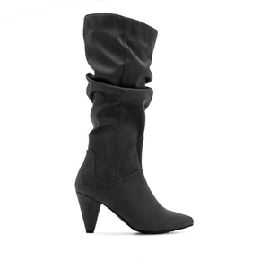 Slouch Boots in Grey Suede