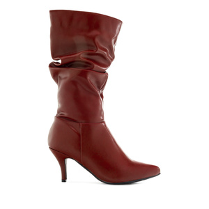 Wrinkled Shaft Boots in Burgundy faux Leather