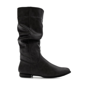 Flat Slouchy Boots in Black faux Leather