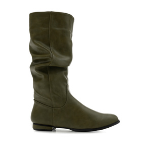 Flat Slouchy Boots in Olive Green faux Leather
