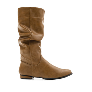 Flat Slouchy Boots in Earth-coloured faux Leather