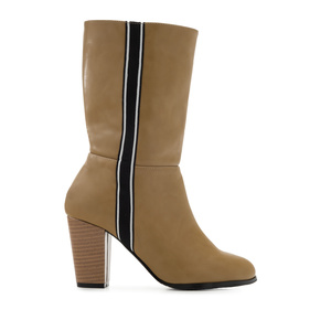 Side Band Boots in Beige faux Leather