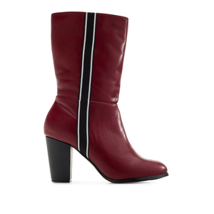 Side Band Boots in Burgundy faux Leather