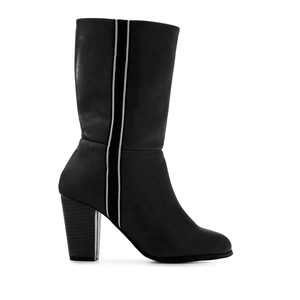 Side Band Boots in Black faux Leather