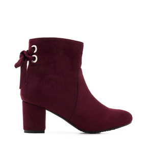 Back Bow-tie Booties in Burgundy Suede
