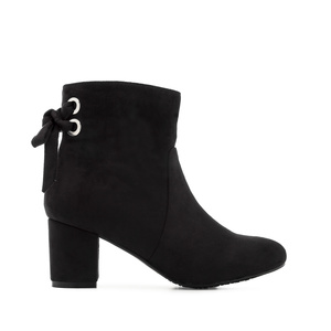 Back Bow-tie Booties in Black Suede