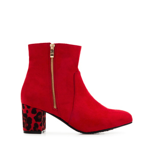 Bottines en Daim Rouge