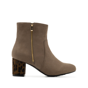 Booties in Earth-coloured Suede with Leopard Heel