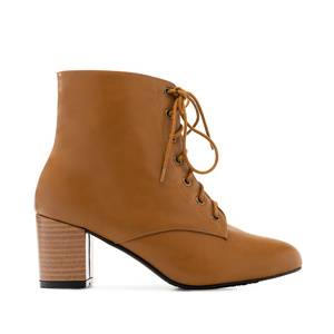 Lace-up Booties in Camel faux Leather