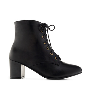 Lace-up Booties in Black faux Leather