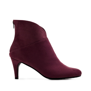 V-Neck Booties in Burgundy Suede