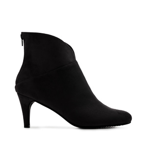 V-Neck Booties in Black Suede