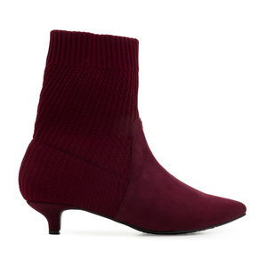 Sock Booties in Burgundy Suede