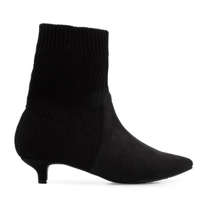 Sock Booties in Black Suede