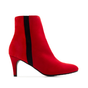 Stiletto Booties in Red Suede