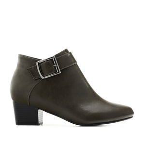 Buckled Ankle Boots in Olive Green faux Leather