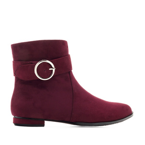 Flat Booties in Burgundy Suede