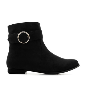 Flat Booties in Black Suede