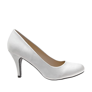 Elegant White Satin High Heel Pumps