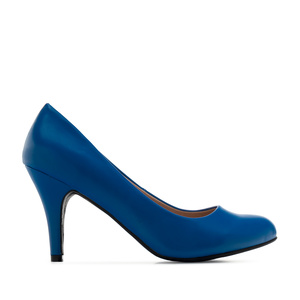 Retro Pumps in Deep Blue faux Soft-Leather