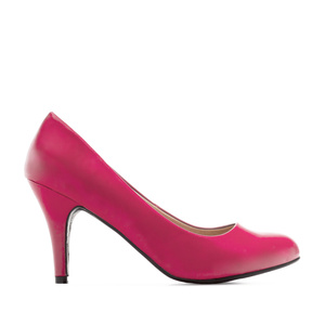 Retro Pumps in Fuchsia faux Soft-Leather