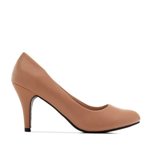 Retro Pumps in Nude faux Soft-Leather