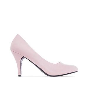 Retro High Heel Pumps in Pink faux Leather